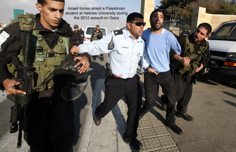 Israeli soldiers arrest a Palestinian protester during a Palestinian protest at Hebrew University in Jerusalem,